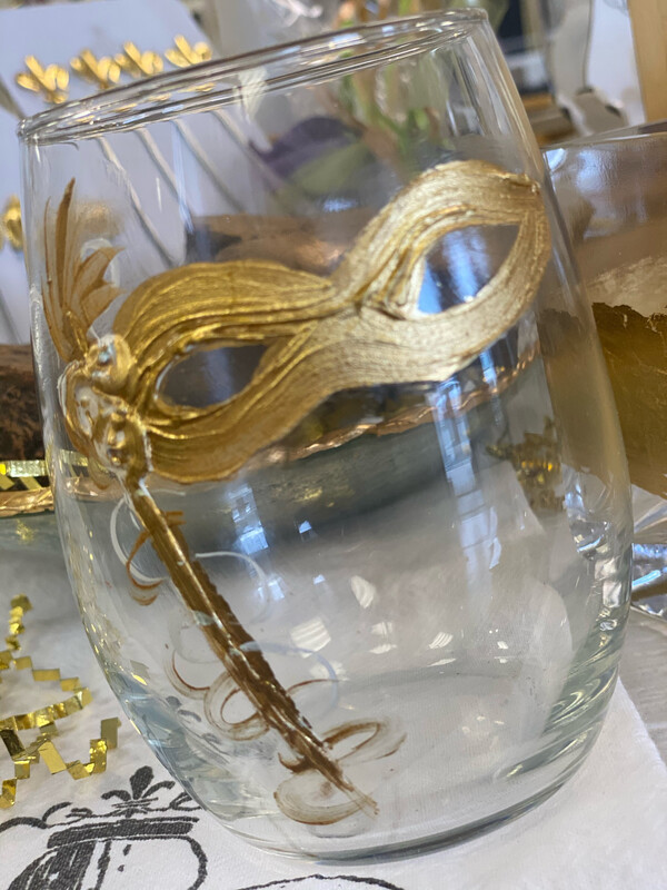 Hand Painted Stemless Wine Glass Mask
