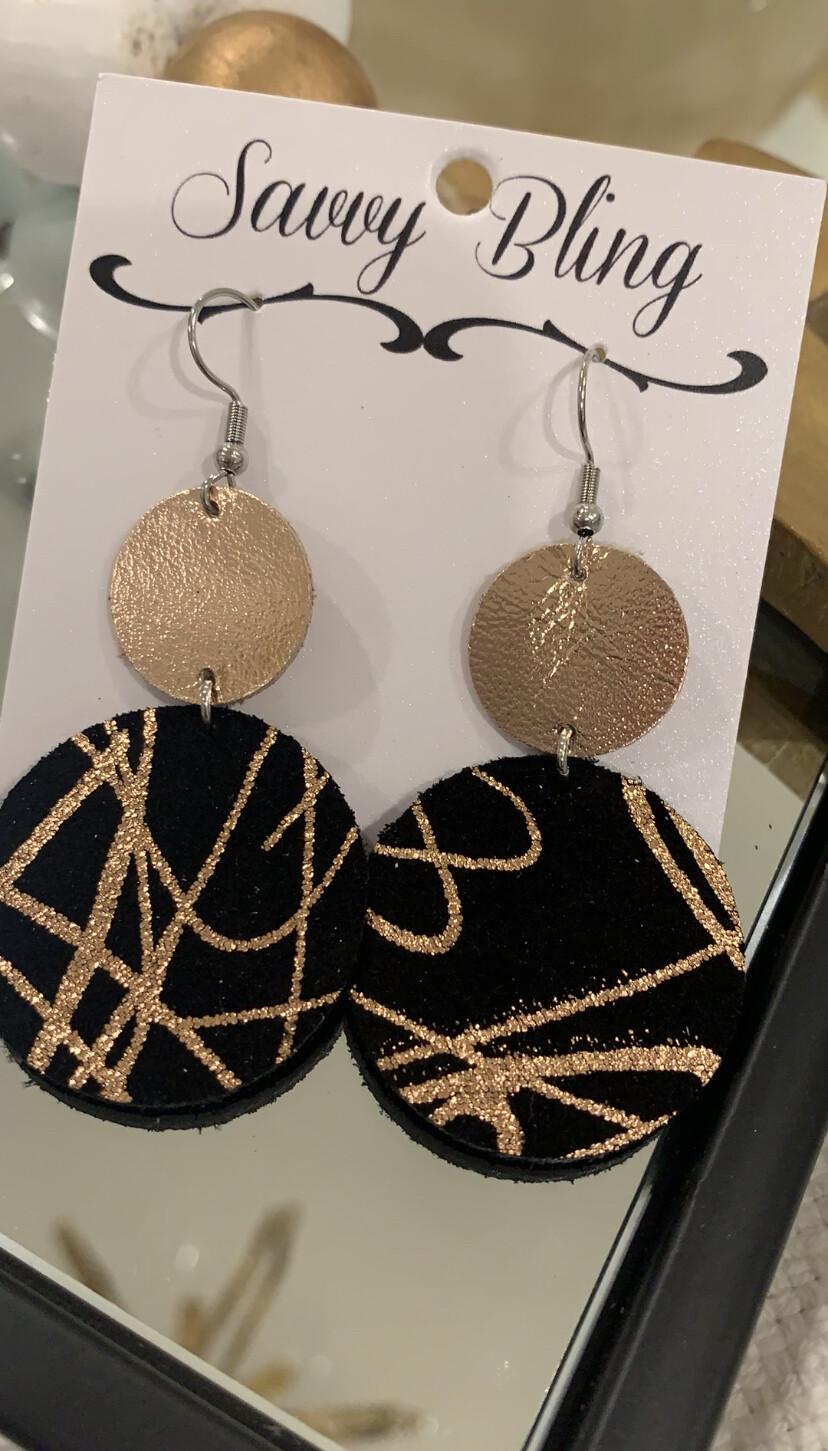 Savvy Earrings Rose Gold/Black