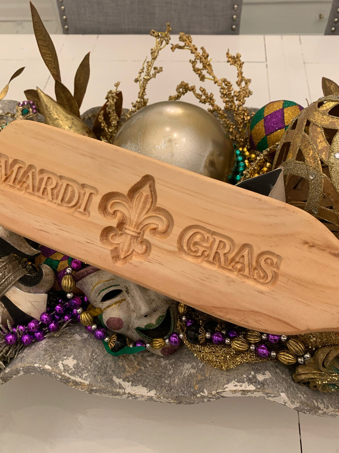 Wooden Novelty Paddle Mardi Gras