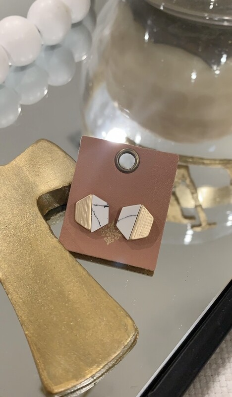 JM Earrings Gold/Marble Hex Studs