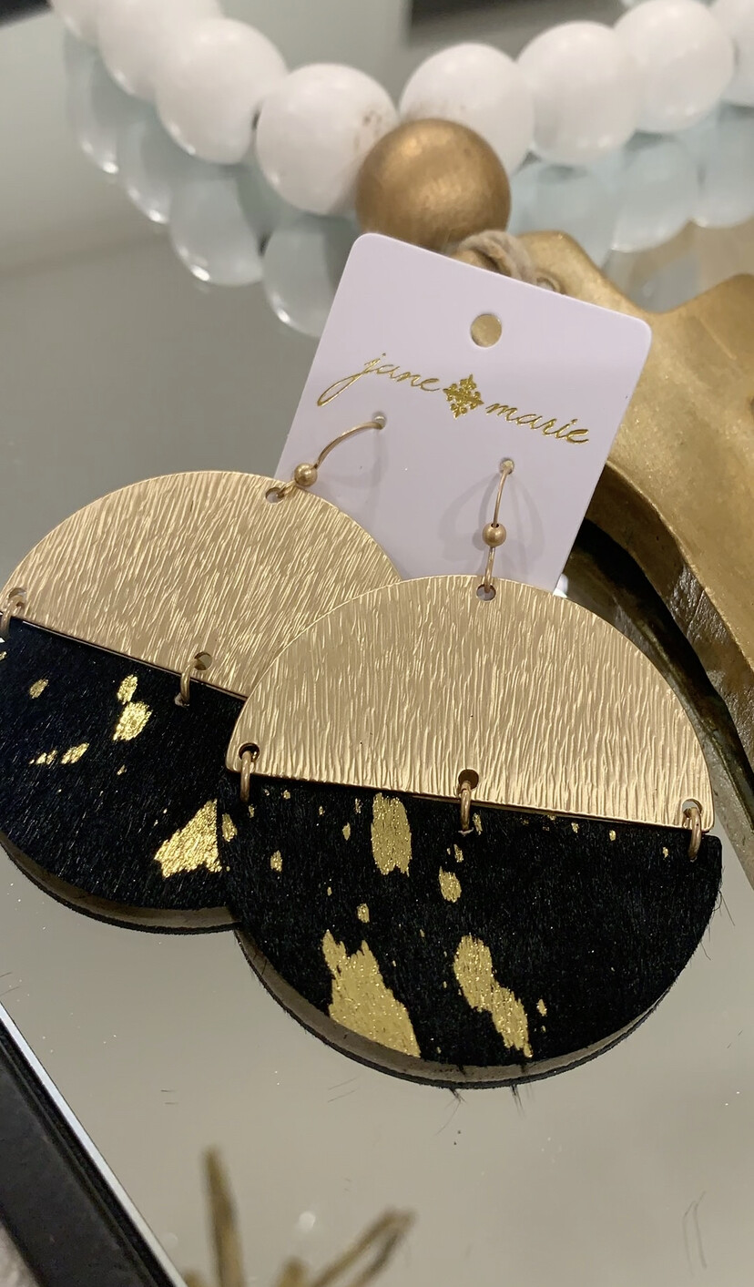 JM Earrings Half Circle Gold Cowhide