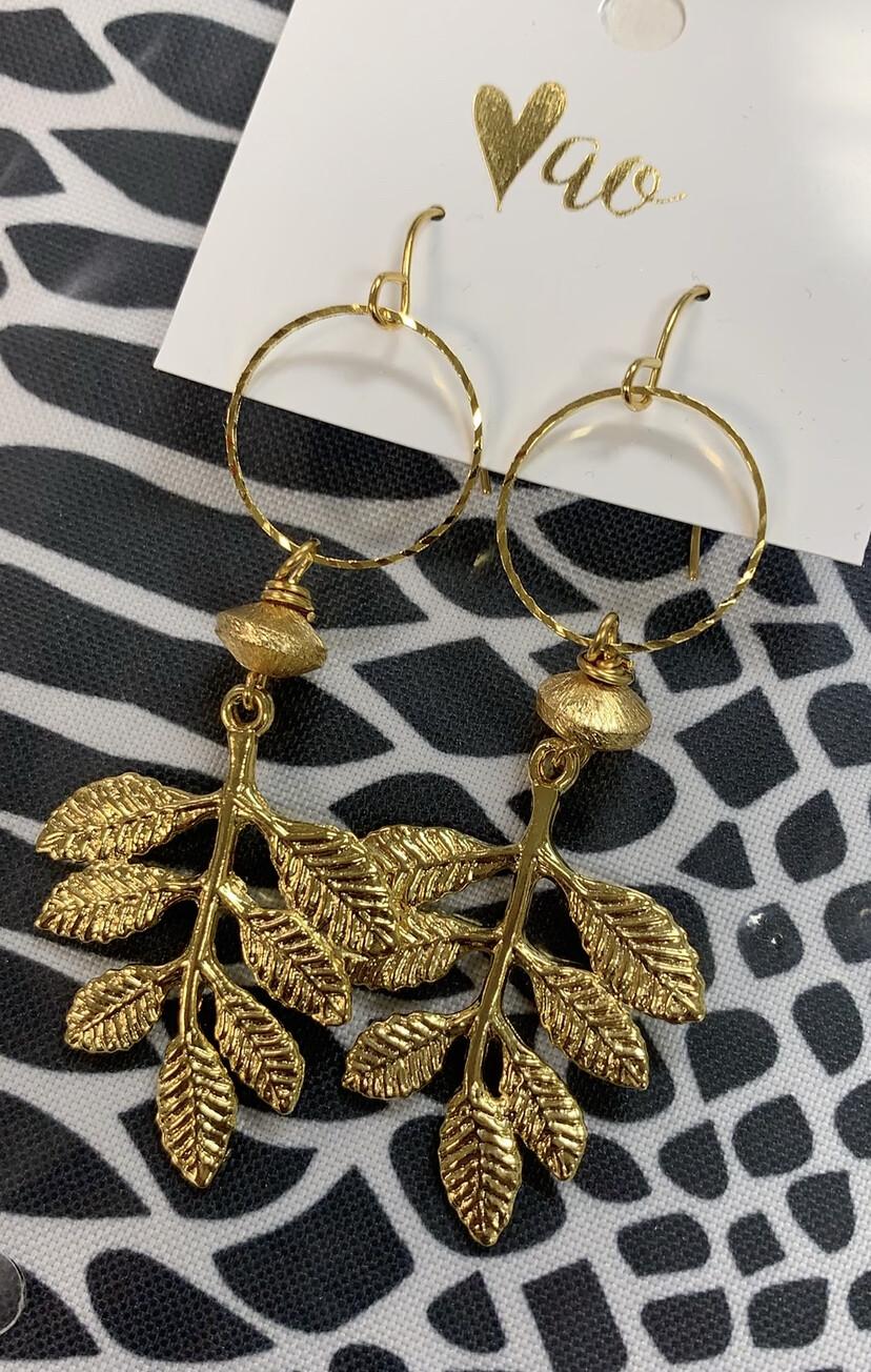 Love AO Earrings Leaf Dangle