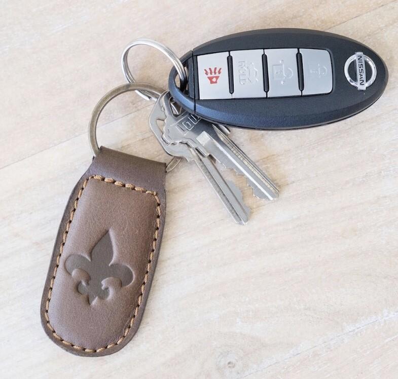 TRS Fleur De Lis Leather Keychain