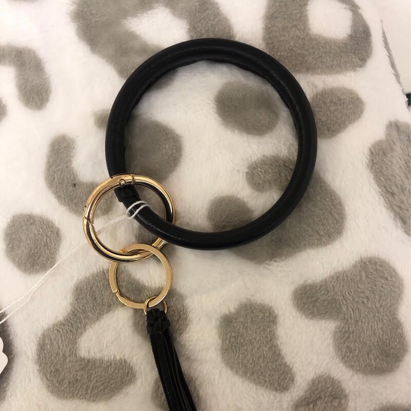 CH Round Keychain Black Leather
