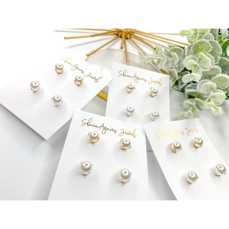 SJ Earrings Pearl Studs