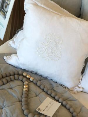 PomPom Throw Pillow White