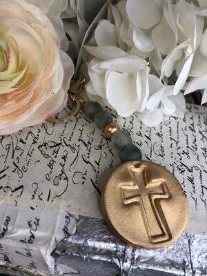 BSD Keychain Stamped Cross Glass Bead Grey