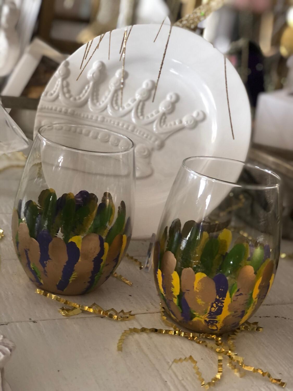 SB Mardi Gras Stemless Wine Glass