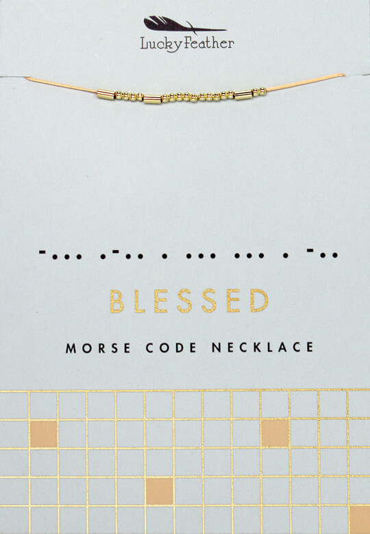 LF Necklace Morse Code Blessed