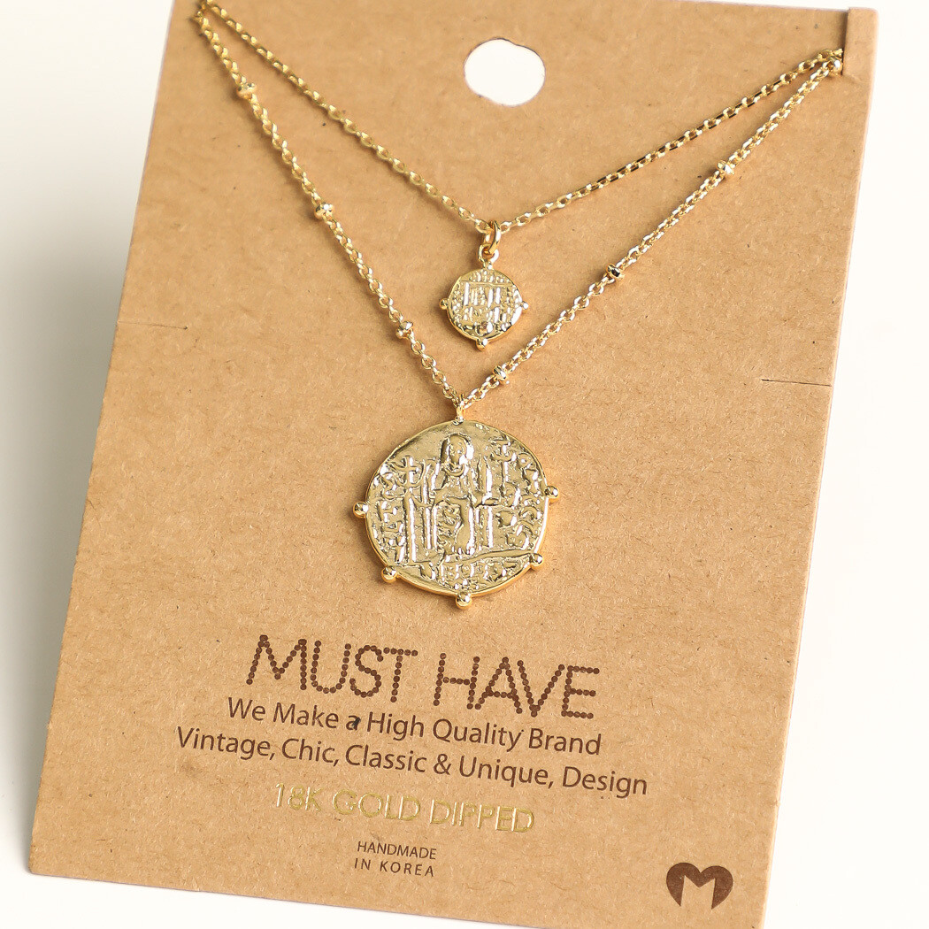 FA Necklace Layered Coin