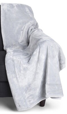 Throw Light Grey Plush