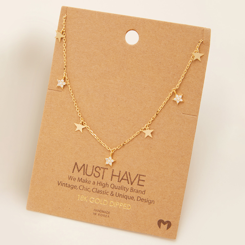FA Necklace Multi Pave Star