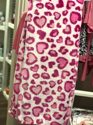 Pink Leopard Heart Throw