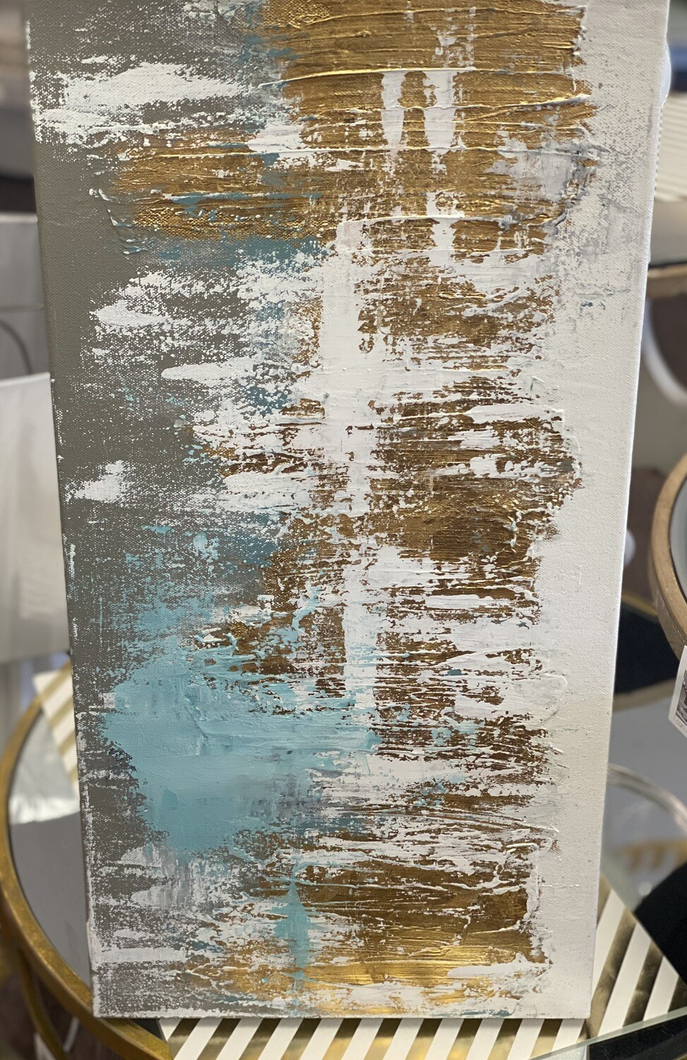 12x24 Light Blue & Gold Abstract Painting 1