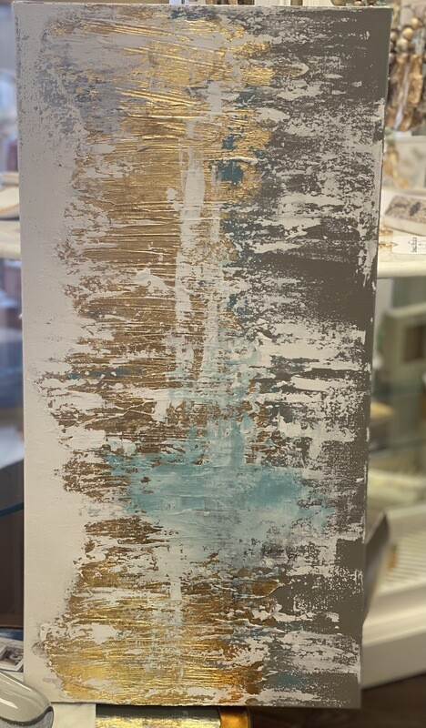 12x24 Light Blue & Gold Abstract Painting 2