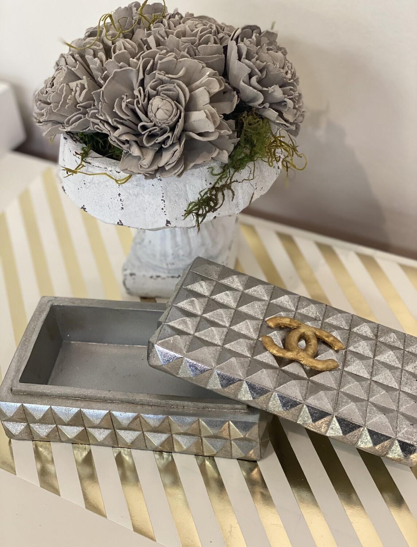 Designer Jewelry Box Silver CC