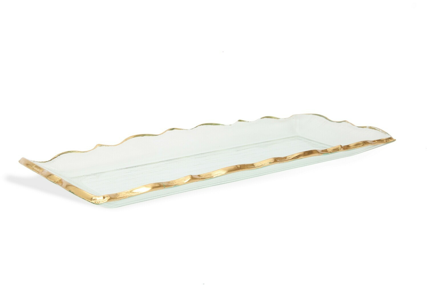 CT Glass Oblong Tray With Gold Edge