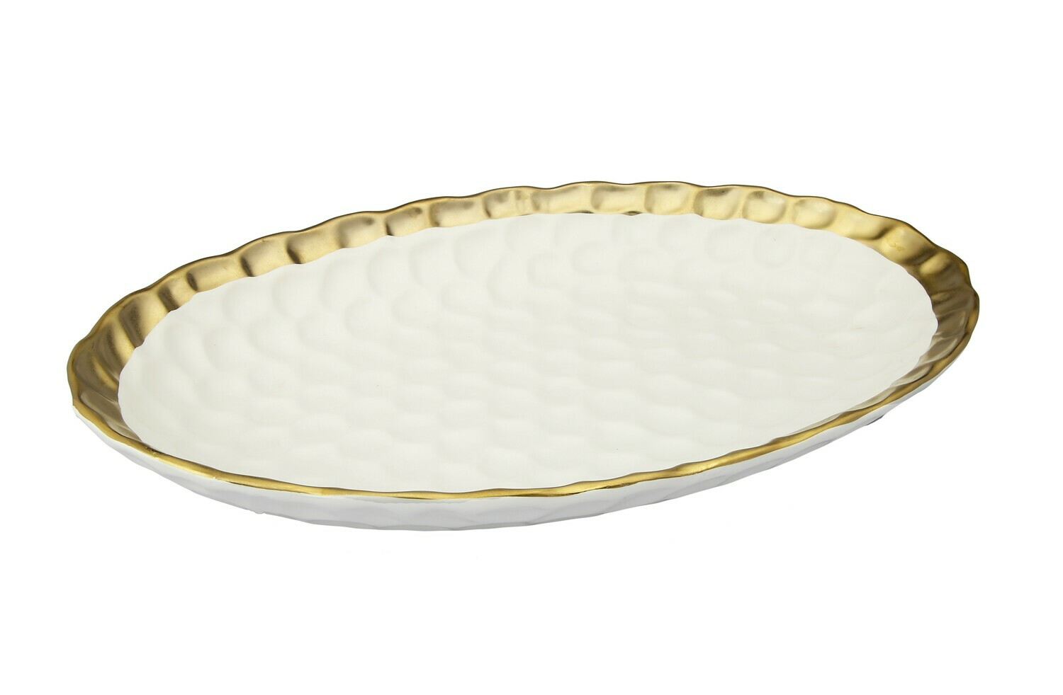 CT White Oval Tray With Gold Rim