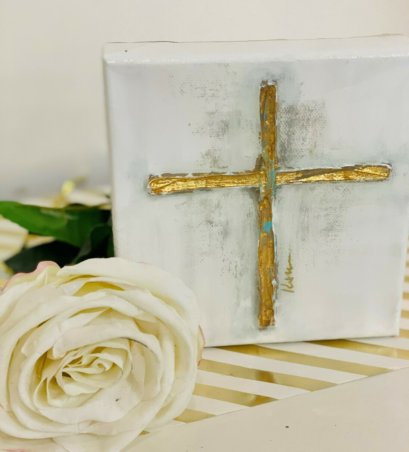 6x6 Cross Painting Turquoise