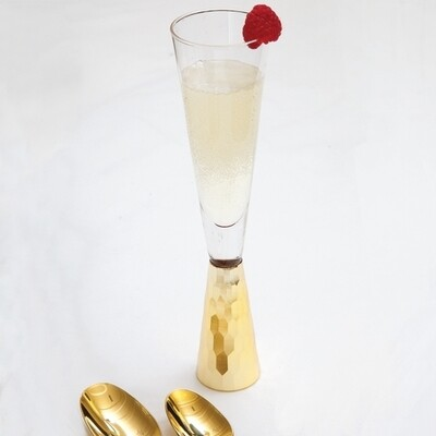 Gold Hammered Champagne Glass