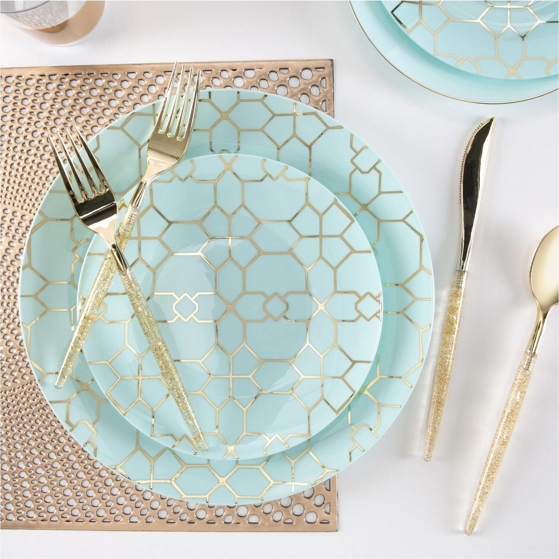 Luxe Dessert Plates Round Mint/Gold Pattern