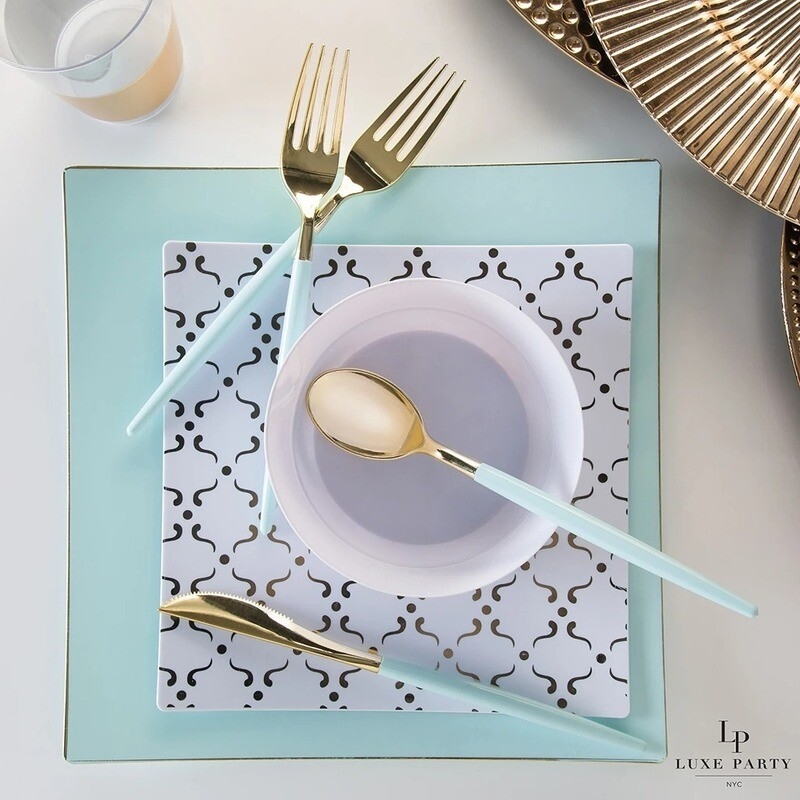 Luxe Dinner Plates Square Mint
