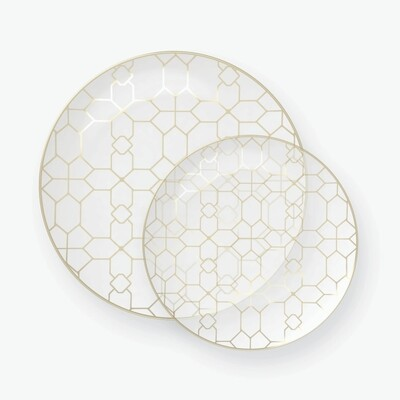 Luxe Dinner Plates Round Gold Pattern Clear