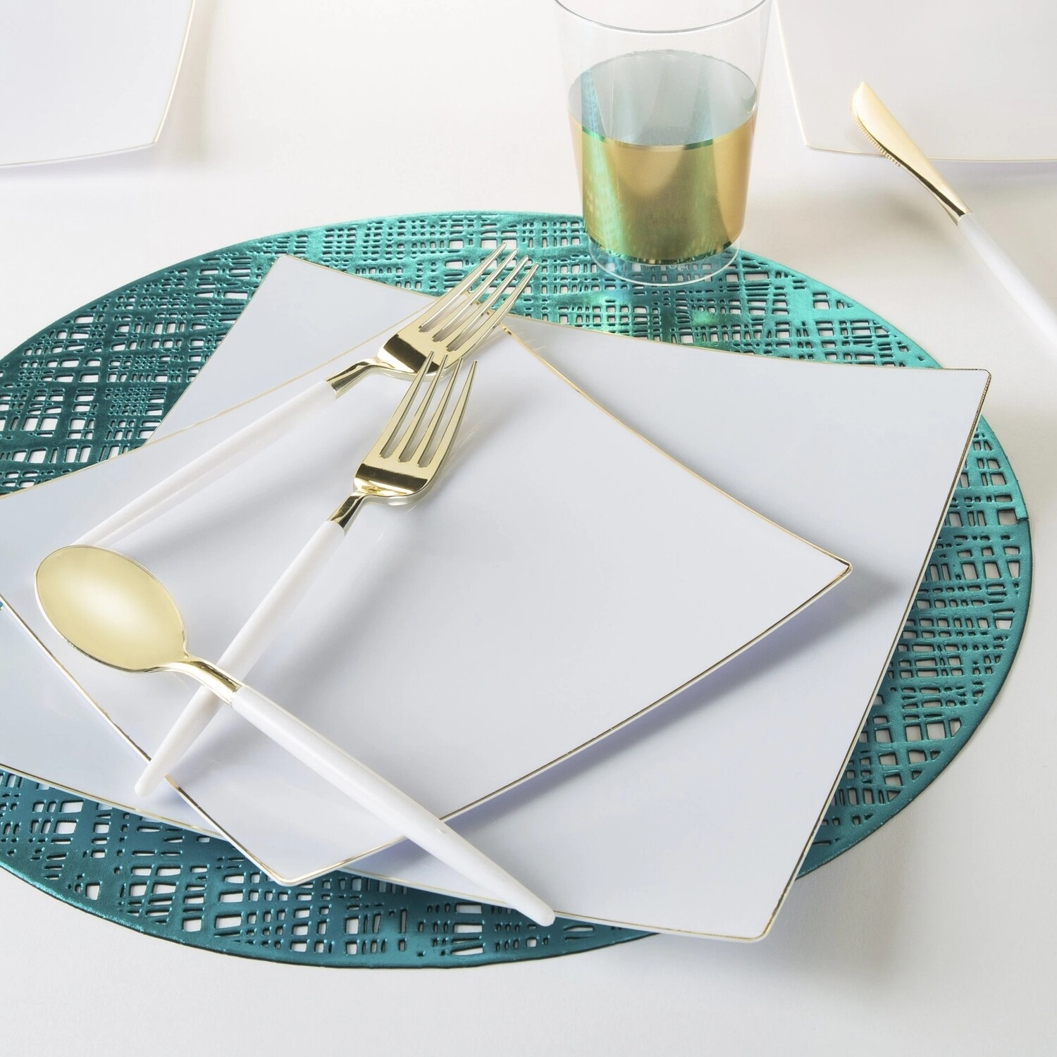 Luxe Dinner Plates Square White