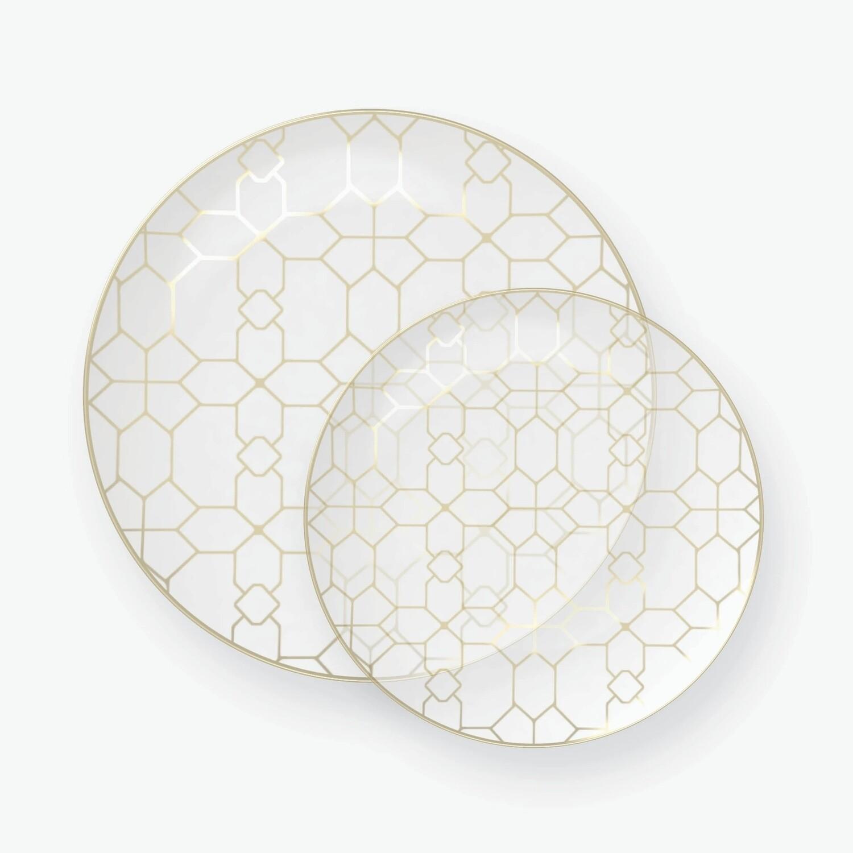 Luxe Dessert Plates Round Gold Pattern Clear