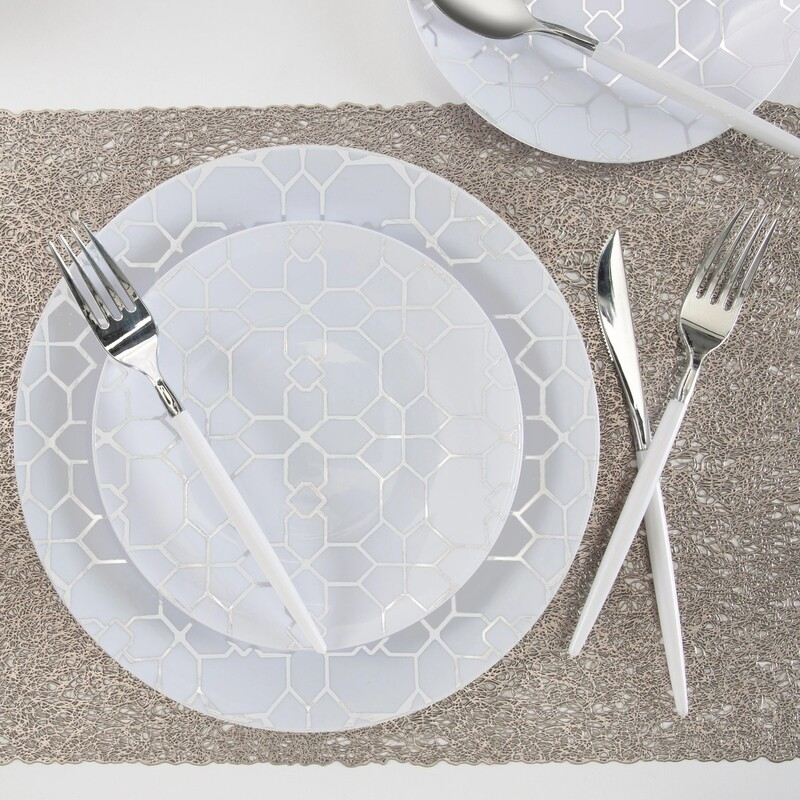 Luxe Dinner Plates Round White/Silver Pattern