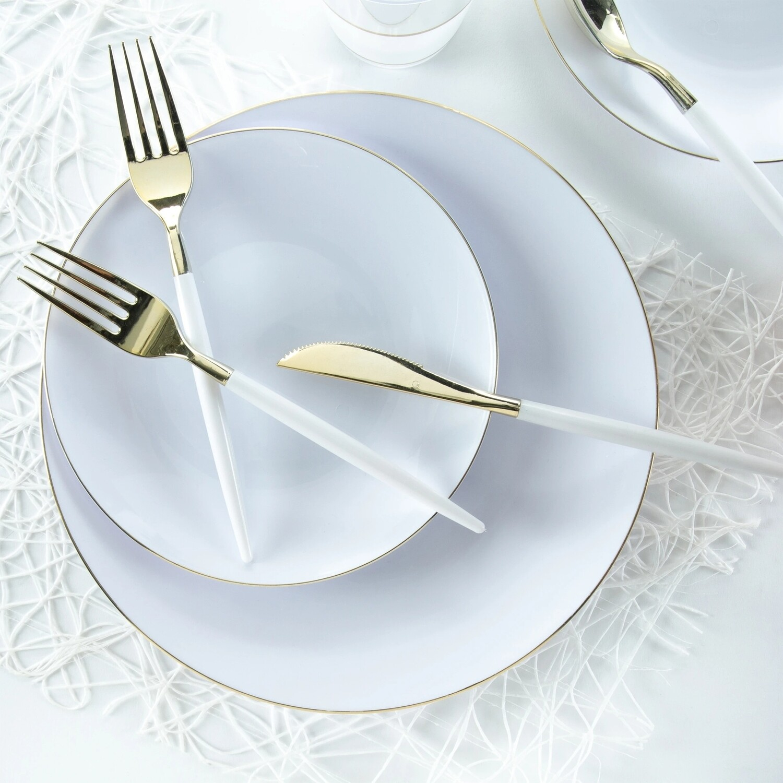 Luxe Dessert Plate Round White w/Gold Rim