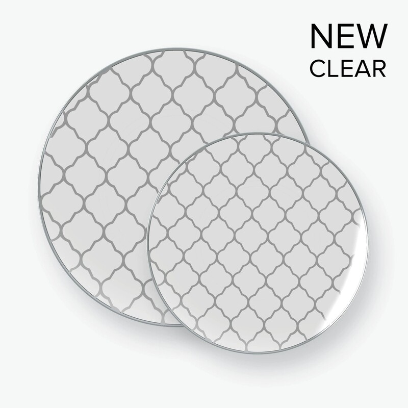 Luxe Dessert Plates Round Silver Pattern Clear