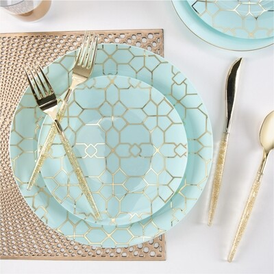 Luxe Dinner Plates Round Mint/Gold Pattern