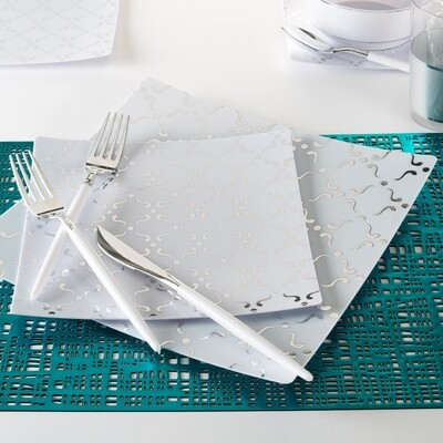 Luxe Dinner Plates Square Silver