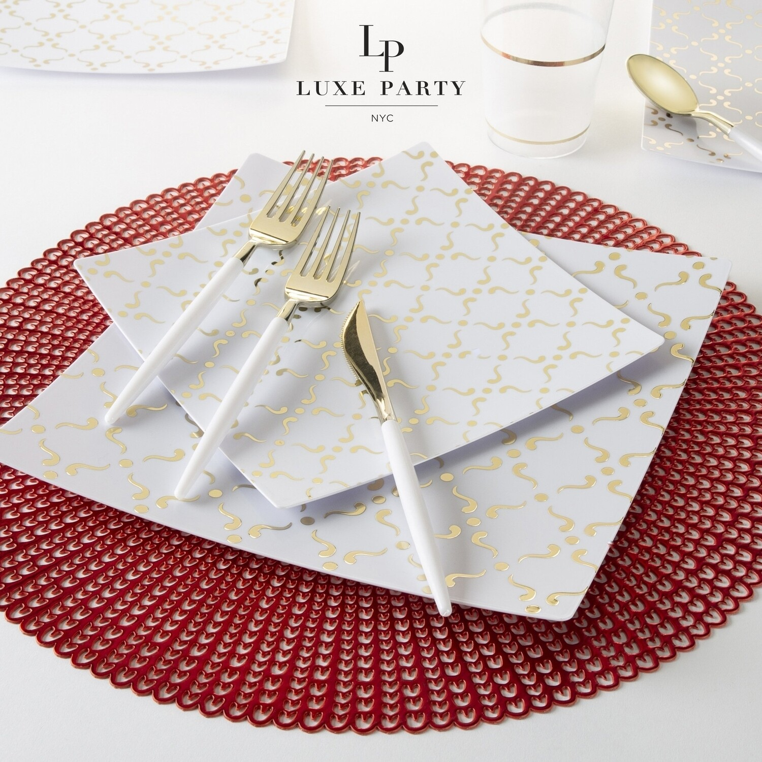Luxe Dinner Plates Square Gold/White Pattern