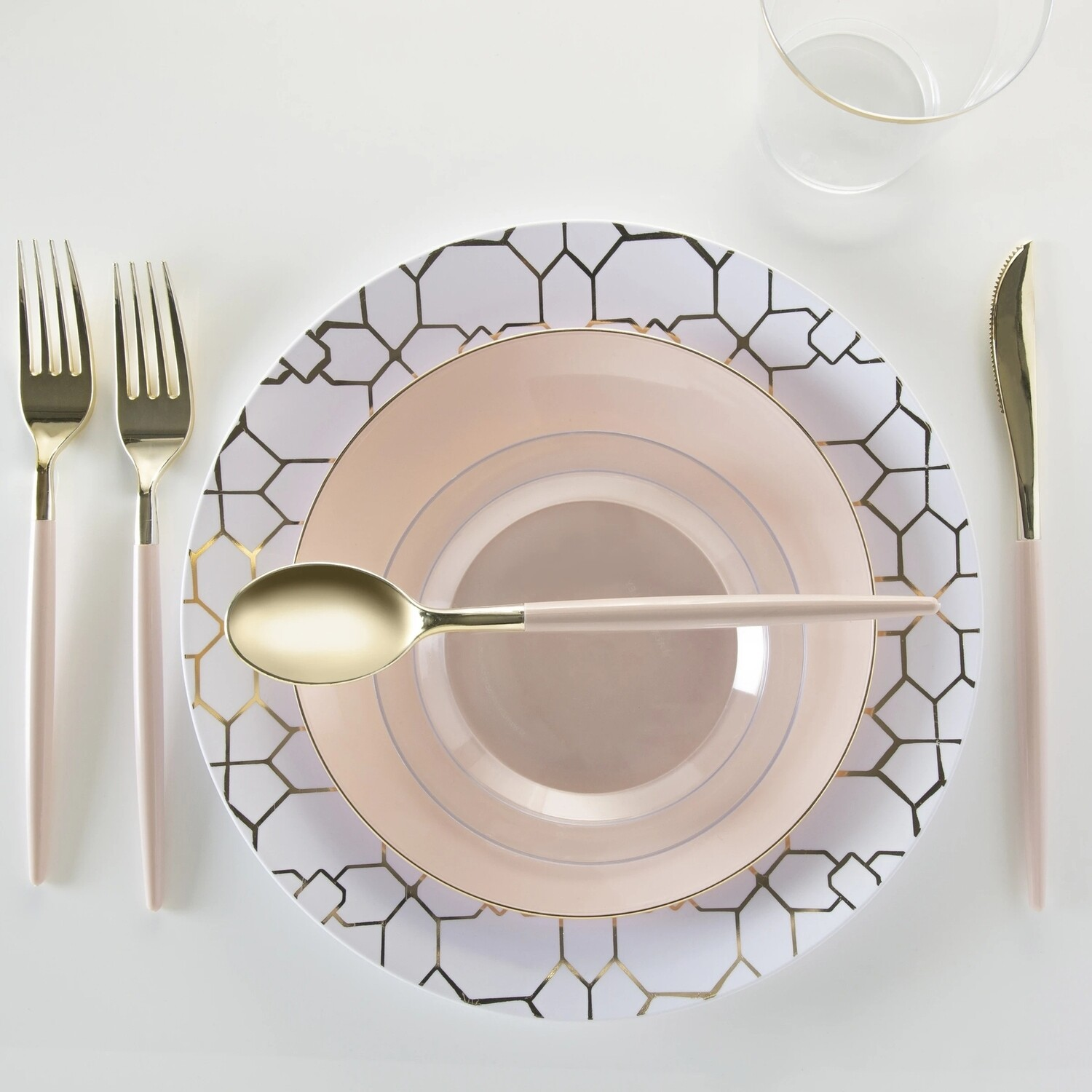 Luxe Dinner Plates Round Gold/White Pattern