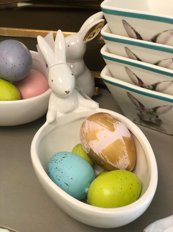 White/Gold Bunny Bowl
