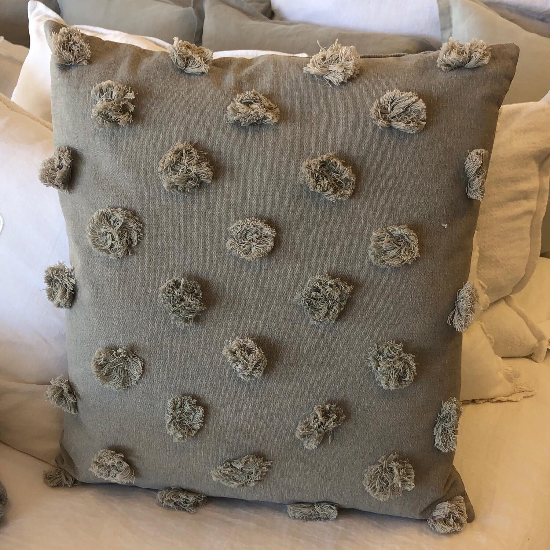 Gray Fringe Pillow