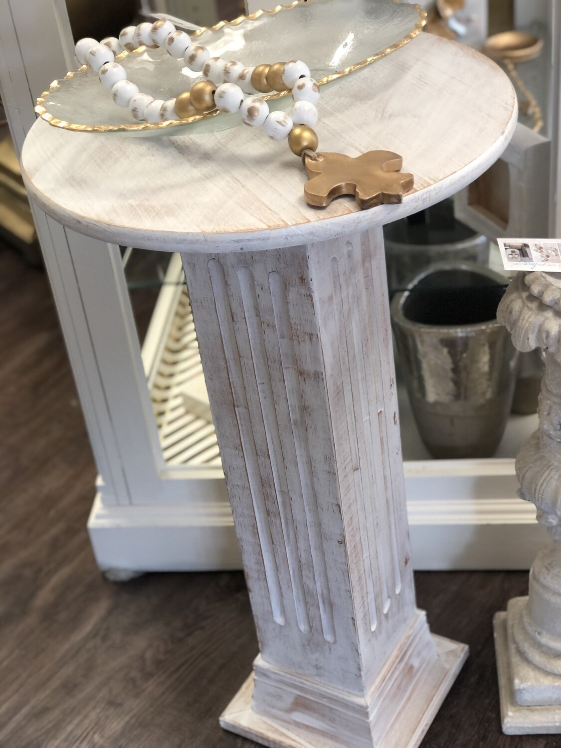 White Wash Accent Table