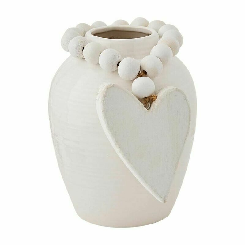 White Vase With Heart Beads Short