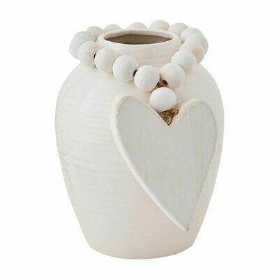 White Vase With Heart Beads Short
