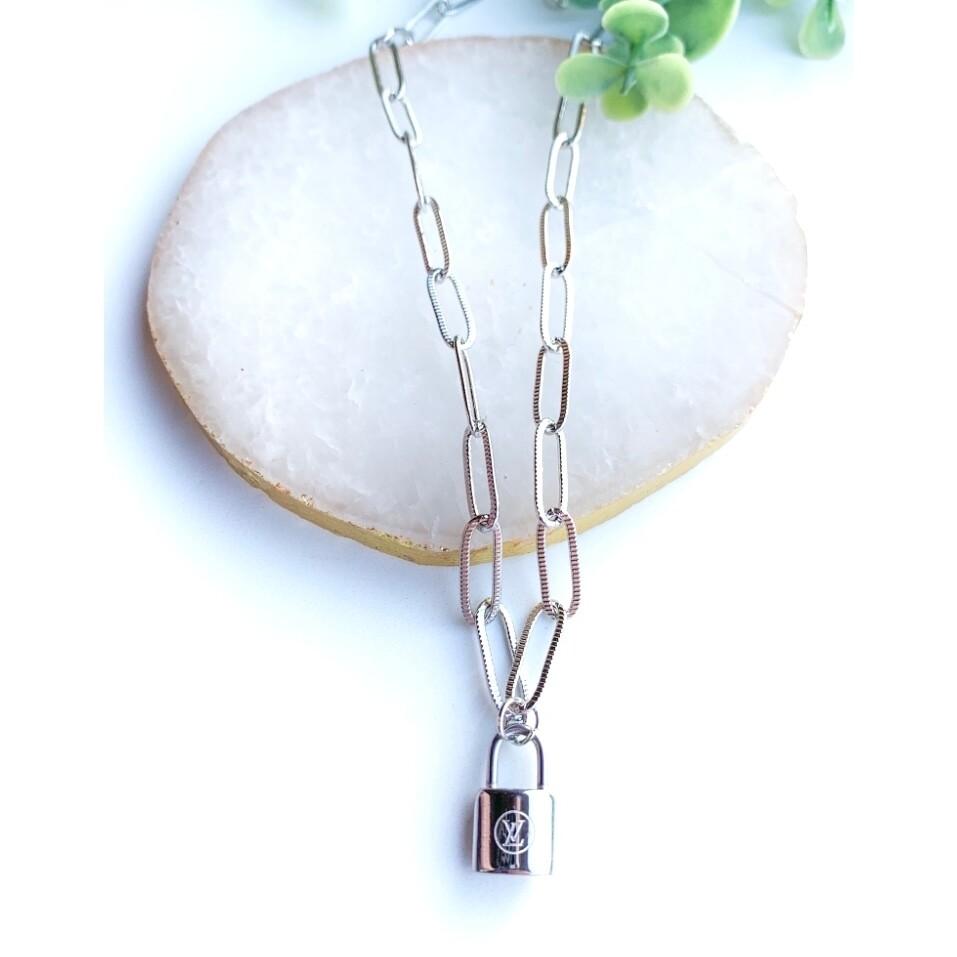 SJ Inspired Necklace Silver Lock LV