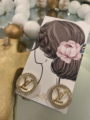 SJ Designer Earring Studs Diamond Circle LV