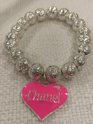 SJ Designer Bracelet Hot Pink Heart Chanel