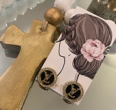 SJ Designer Earring Studs Black Diamond Circle LV