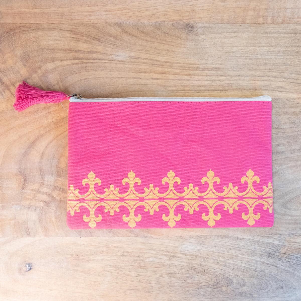 TRS Savannah Cosmetic Bag Hot Pink/Gold