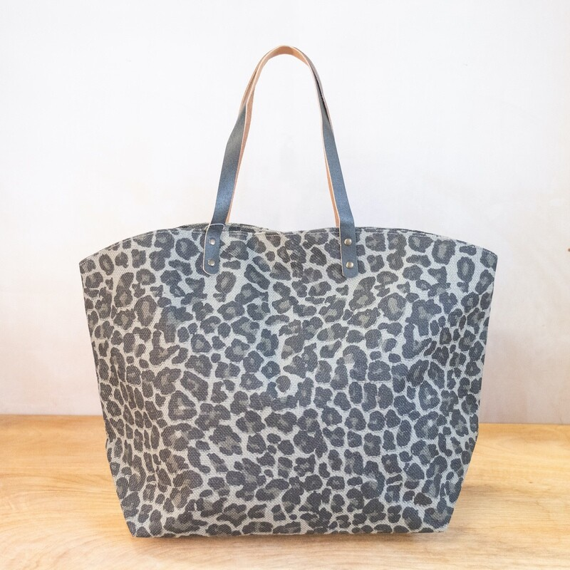 TRS Margo Leopard Tote Gray/Black
