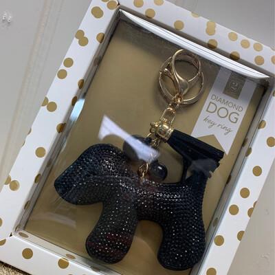 Black Bling Dog Keychain