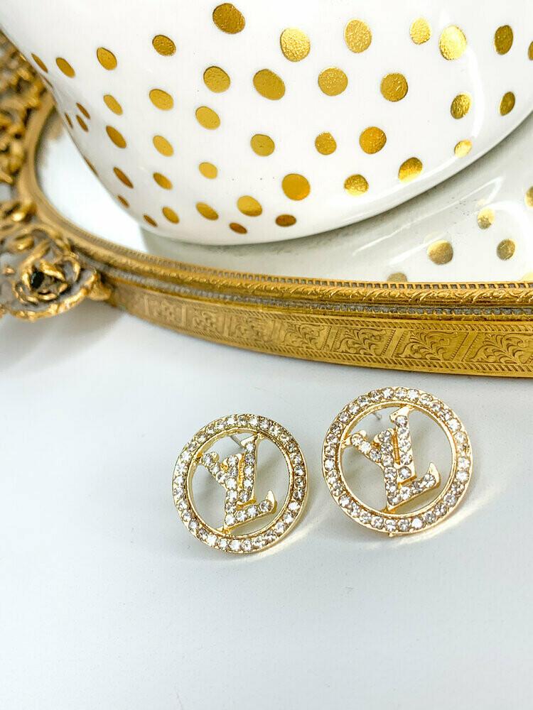 SJ Designer Earring Studs Clear Diamond Circle LV