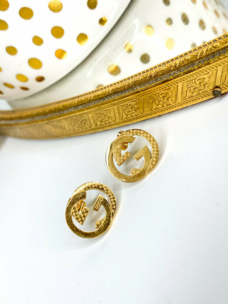 SJ Inspired Earring Studs Gold Logo Gucci